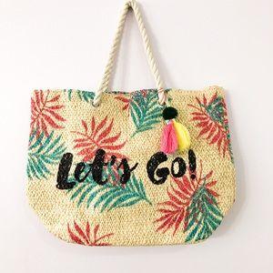 Hand woven wicker beach bag